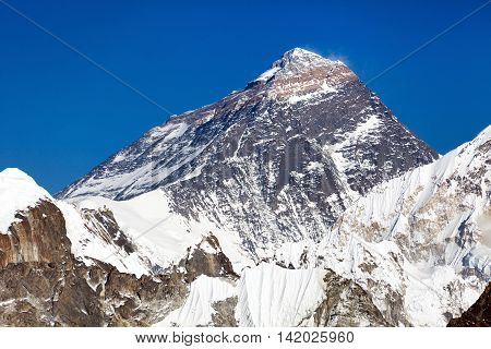 Top of Mount Everest from Gokyo valley - way to Everest base camp - Nepal