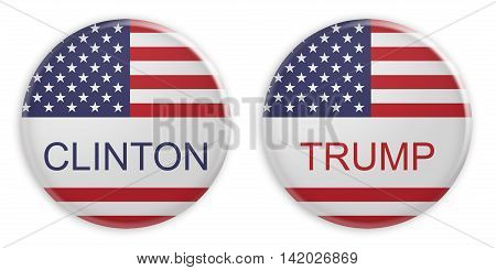 BERLIN GERMANY - AUGUST 10 2016: US Presidential Election 2016: Clinton And Trump Badges 3d illustration