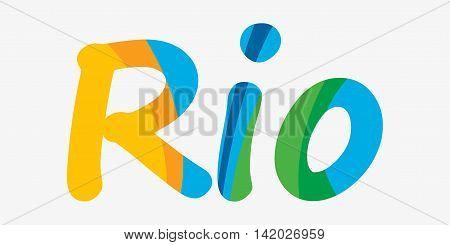 Rio vector 2016 Brazil Summer 2016 Rio de Janeiro banner with abstract colorful backrop. Hand drawn Vector flat design
