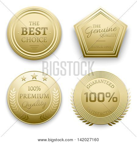 Polished gold metal badges vector illustration. Set of badge gold, metal round badge guarantee