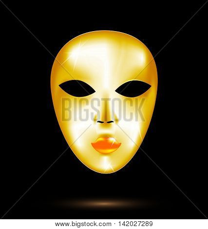 black background and the large golden carnival mask
