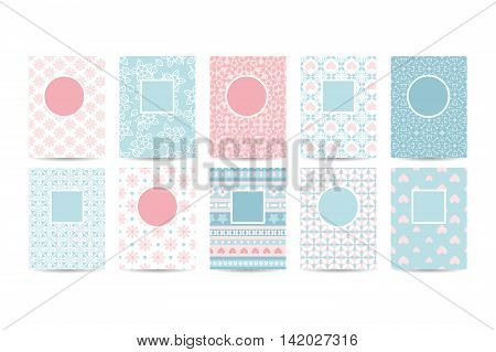 Romantic card templates with pink patterns. Vector illustration