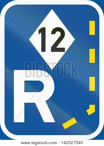 Road Sign Used In The African Country Of Botswana - Start Of A Reserved Lane For High-occupancy Vehi