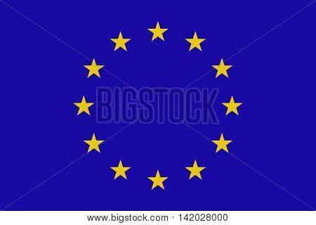 European union flag. Vector illustration. Yellow stars in blue background