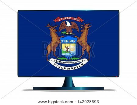 A TV or computer screen with the Michigan state flag