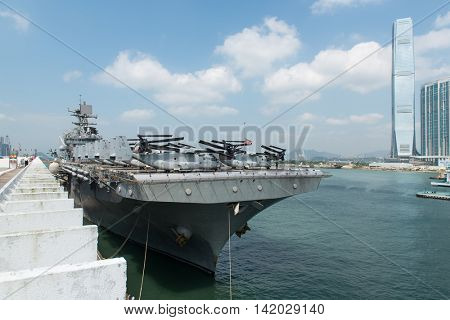 HONG KONG, CHINA - Sept 18:The U.S. amphibious assault ship USS Bonhomme Richard pulled in Hong Kong waters on Sept 18,2013 to get replenishment.Commissioned in 1998, the 40,500-ton vessel.