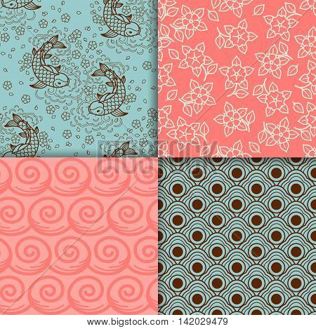 Japanese turqiouse and pink pattern set. Vector illustration