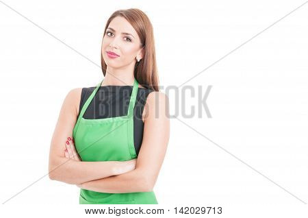 Confident Pretty Employee Standing With Arms Crossed