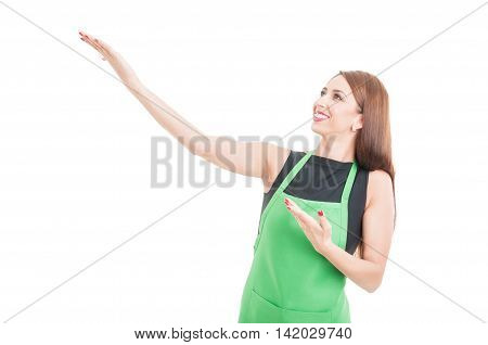 Cheerful Beautiful Employee Presenting Something
