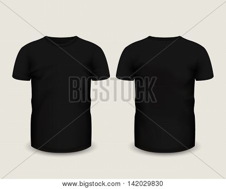 Men's black t-shirt short sleeve in front and back views. Vector template. Fully editable handmade mesh. eps 10