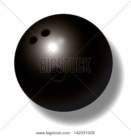 Black bowling ball with three holes - three-dimensional - realistic.