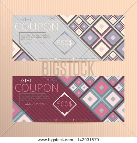 Vector illustration of gift voucher template collection. Coupon cards.
