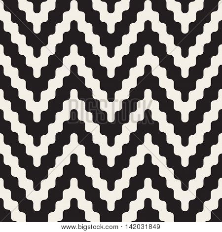 Vector Seamless Black and White ZigZag Rounded Lines Geometric Pattern. Abstract Geometric Background Design