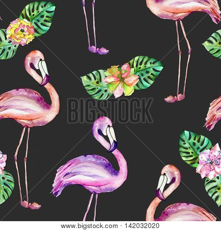 Seamless pattern with the flamingo and exotic flowers, hand painted in watercolor on a dark background