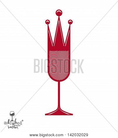 Champagne glass with royal crown decorative goblet full with sparkling wine.