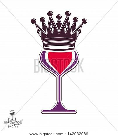 Sophisticated luxury wineglass with king crown graphic artistic vector goblet.