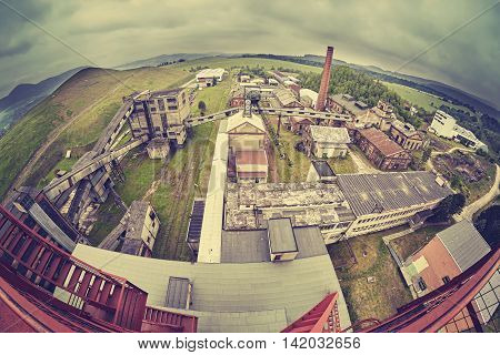 An Old Abandoned Coal Mine In Cloudy Day.