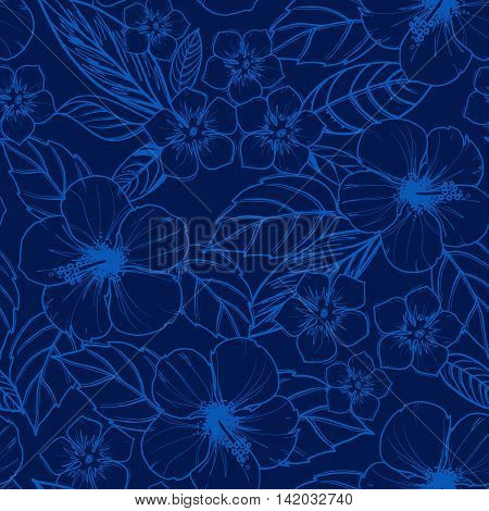 Tropical seamless pattern with exotic plants and hibiscus flowers. Vector illustration.