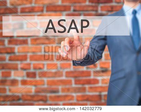 Asap -  Businessman Press On Digital Screen.