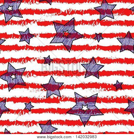 Stars and stripes seamless pattern for wraping paper backgrouns and textile