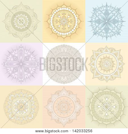 Set of nine circular floral ornaments. Round Pattern Mandala in light colors. Can be used for the greeting cards invitation template frame design for business style cards or else. Vector illustration