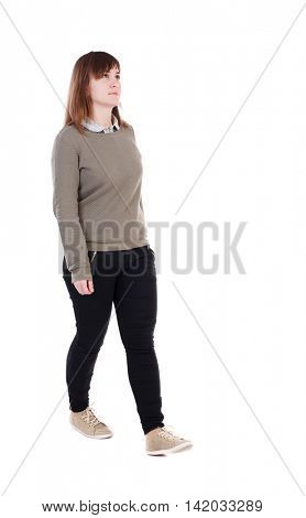back view of walking  woman. beautiful blonde girl in motion.  backside view of person.  Rear view people collection. Isolated over white background. A girl in a gray jacket passes us.
