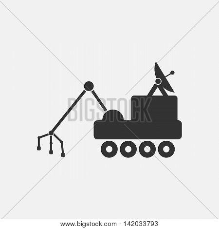 Mars rover icon. Silhouette flat design vector illustration