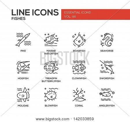 Fishes - set of modern vector plain line design icons and pictograms. Pike, marine hatchfish, boarfish, seahorse, hogfish, treadfin butterflyfish, clownfish, swordfish, molidae, blowfish coral angler fish