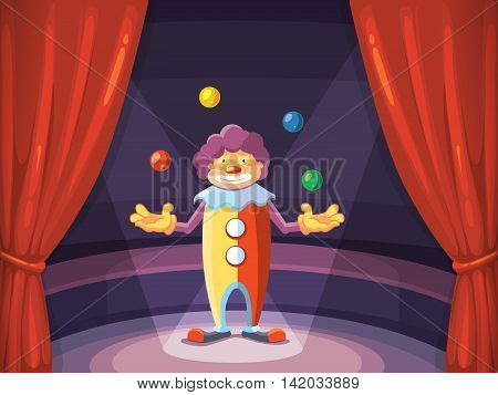 vector background illustration with red curtain and clown on arena of circus. Decoration frame for your design project.