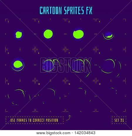 Energy ring explosion sprites or animation frames icons. Use in game development, mobile games or motion graphic. Vector illustration.