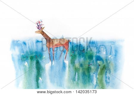 Illustration with deer standing in the water. Little blue bird seats at the deer's horn.