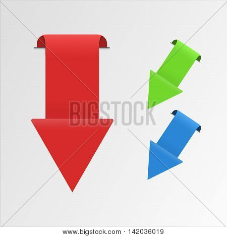 Direct shaped vector arrows. Rounded sticker that can be used as a bookmark.