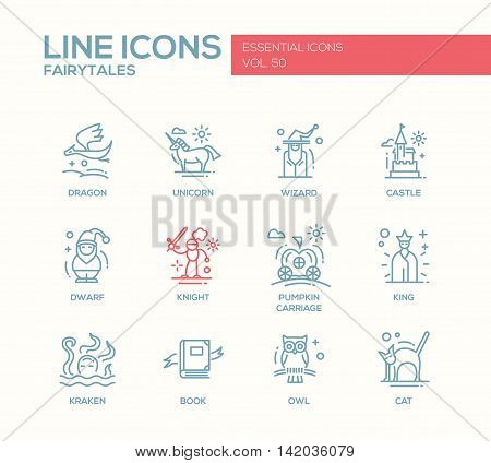 Fairy Tales - set of modern vector plain line design icons and pictograms. Dragon, unicorn, knight, castle, dwarf, wizard, pumpkin carriage, king, kraken book owl cat