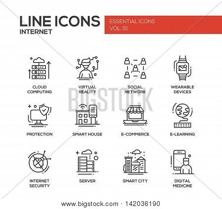 Internet - set of modern vector plain line design icons and pictograms. Cloud computing, virtual reality, social network, wearable devices, protection, smart house, e-commerce, e-learning, security, digital medicine