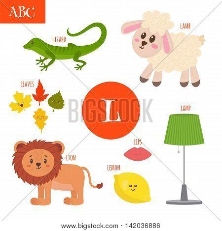Letter L. Cartoon Alphabet For Children. Lion, Lamb, Lamp, Leaves, Lemon, Lizard, Lips