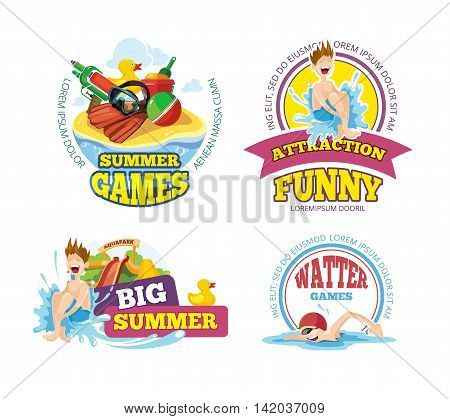 Vector illustration of color emblems with toys for summer games on playground. Advertise labels with place for your text. Pictures isolate on blue background. Playground Logo design