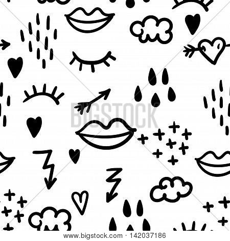 Cute abstract pattern with doodle: eyelashes, lips, arrows,lightning, clouds and rain drops. Vector illustration.