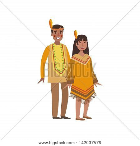 Couple In Nothern America Indians National Clothes Simple Design Illustration In Cute Fun Cartoon Style Isolated On White Background