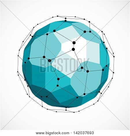 Abstract 3D Faceted Figure With Connected Black Lines And Dots. Vector Low Poly Green Design Element