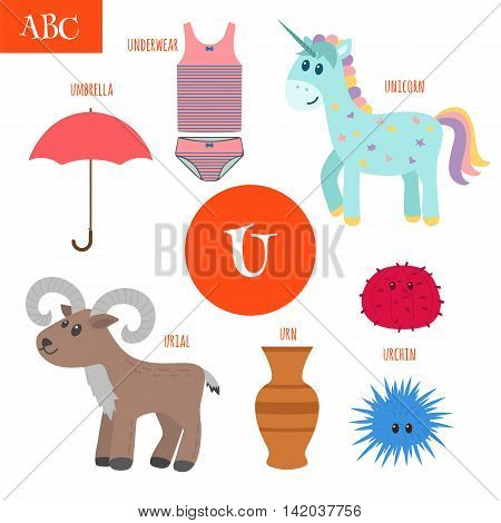 Letter U. Cartoon Alphabet For Children. Unicorn, Umbrella, Urn, Underwear, Urchin, Urial