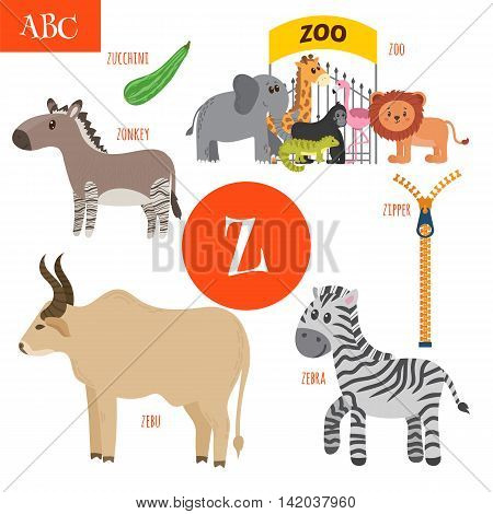 Letter Z. Cartoon Alphabet For Children. Zebra, Zipper, Zonkey, Zoo, Zucchini, Zebu