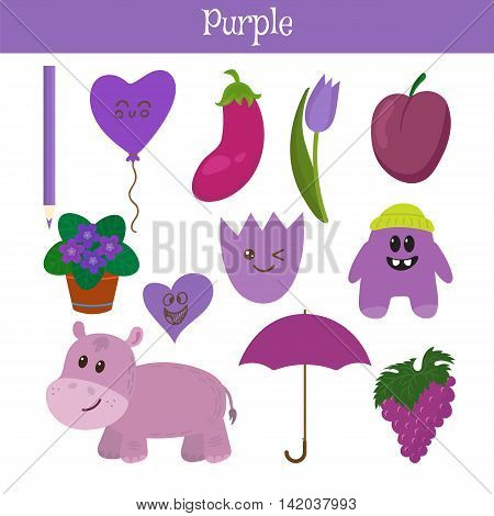 Purple. Learn The Color. Education Set. Illustration Of Primary Colors