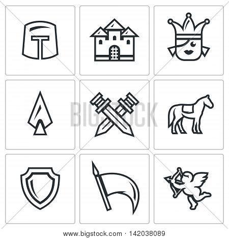 Helmet, Building, Girl, Spear, Crossed Swords, Animal, Shield, Flag, Cupid