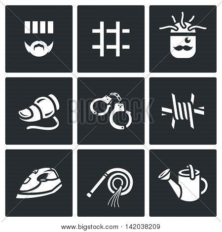 Prisoner, Prison bar, Brain scan, Finger, Handcuffs, Barbed wire, Iron, Stick, Watering can.