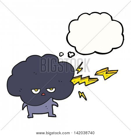 freehand drawn thought bubble cartoon raincloud character shooting lightning