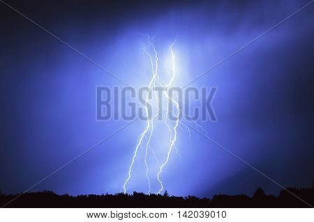 Lightning in a storm at night