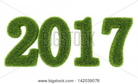 3D rendering of 2017 new year green grass figures isolated on white background.