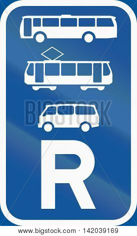 Road Sign Used In The African Country Of Botswana - Reservation For Buses, Trams And Mini-buses