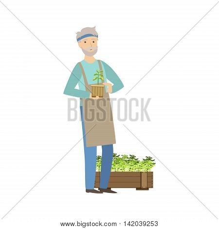 Old Man Showing His Gardening Hobby Bright Color Cartoon Simple Style Flat Vector Sticker Isolated On White Background