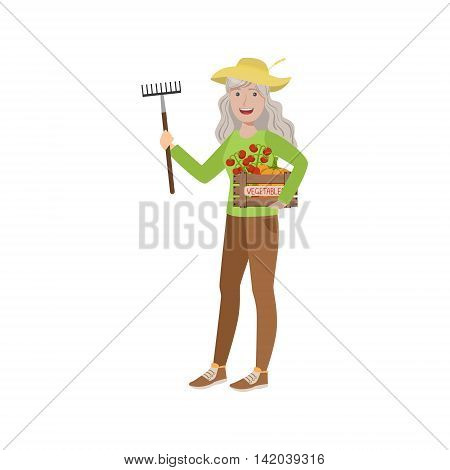 Old Woman With Rake And Crate Of Vegetables Bright Color Cartoon Simple Style Flat Vector Sticker Isolated On White Background